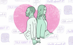 "An illustration of a couple sitting with their backs to each other, but linking their pinkies together. Speech bubbles in the background repeat in different fonts with the words ""talk about it""."