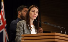 Prime Minister Jacinda Ardern at a post-Cabinet briefing.
