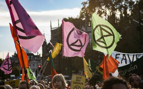 Extinction Rebellion flags during a protest.