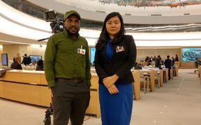 KNPB's Victor Yeimo and lawyer Veronica Koman at the UN Human Rights Council in Geneva