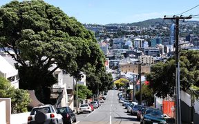 14301140 - wellington, new zealand - street with cars parked alongside