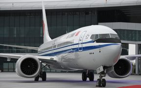 (File photo) A Boeing 737 Max 8 destined for Air China, delivered to Zhejiang province in December 2018.