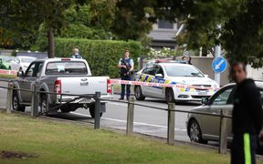 Police taping off the street out Christchurch mosque shooting site