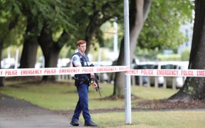 Police taping off the street out Christchurch mosque