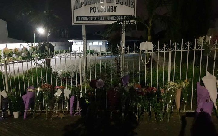 People have lain tributes at Ponsonby mosque in Auckland.