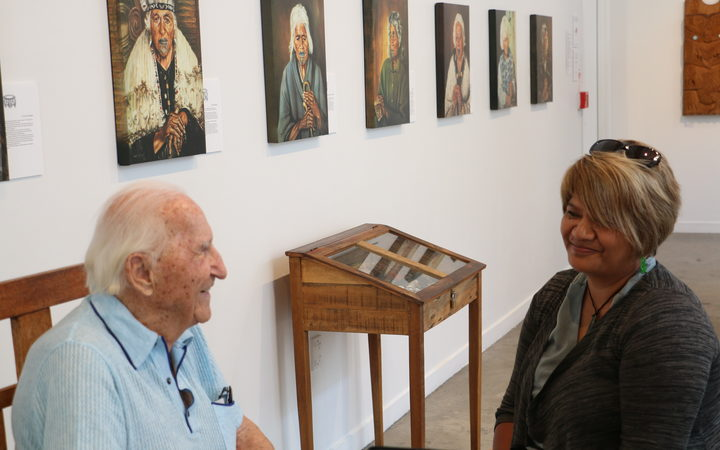 Caline Ruri-Kerr meets Harry Sangl who painted her kuia Rangi Ruri.