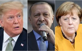 US President Donald Trump (left), Turkish President Recep Tayyip Erdogan and German Chancellor Angela Merkel (right) have all expressed sorrow and condemned the Christchurch attack.