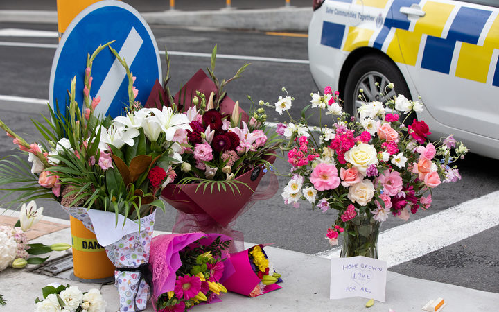 Flowers left at cordon