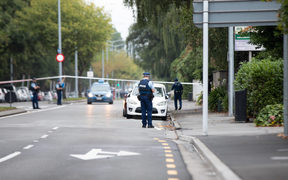 Armed police at a cordon in Christchurch.