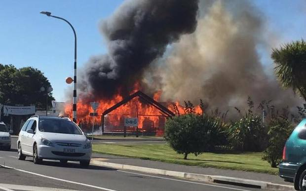 Photos posted on social media show the fire at Te Wānanga o Raukawa in Otaki on 25 January 2016.
