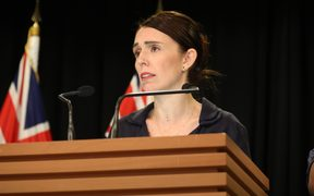 Prime Minister Jacinda Ardern gives a briefing to media two days after the attack on two Christchurch mosques.