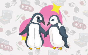 Two penguins hold flippers in front of a love heart, representing monogamous, long-term commitment. In the background are images suggesting things might not be so rosy - a motel sign, a packed suitcase, a ball and chain.