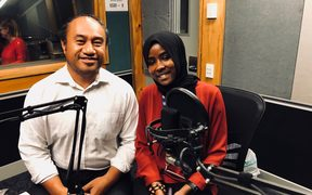 Peter Fa'afiu and Fatumata Bah in studio