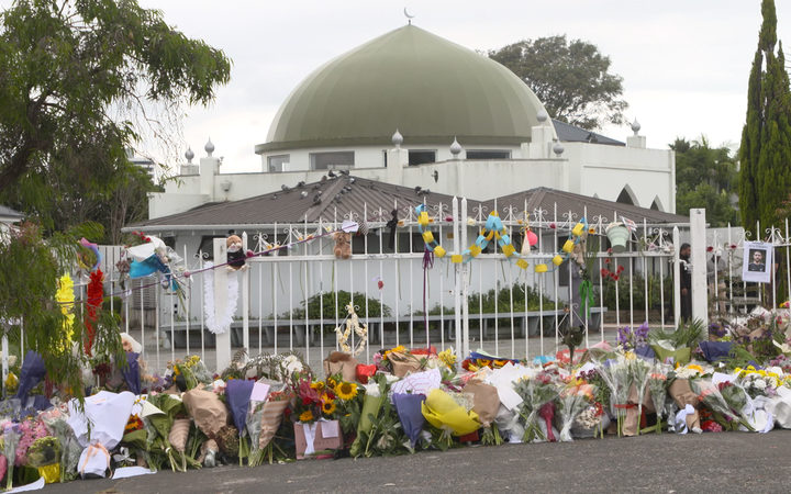 Flowers placed outside the grounds of Ponsonby mosque