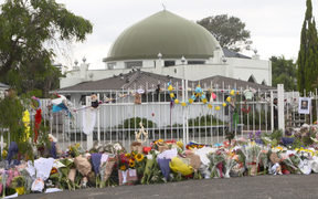 Flowers placed outside the grounds of Ponsonby mosque.