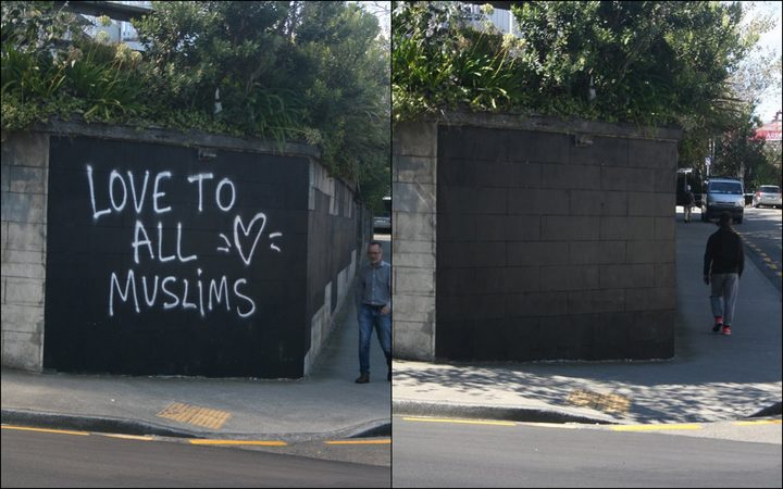 Wellington City Council is sorry messages of support following the mosque terror attacks were removed by graffiti crews.