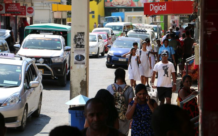 A typical street scene in Nadi, Fiji