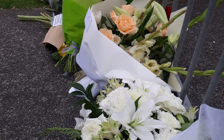 Flowers outside the Masjid e Umar the day after the Christchurch mosque shootings