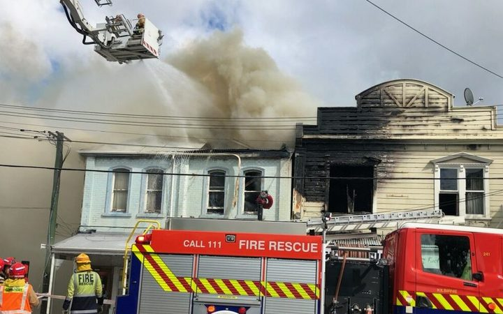 Firefighters battle a blaze in Kilbirnie, Wellington