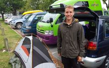 Michael Hanneken has been freedom camping in the designated area next to Addington Park in Christchurch.