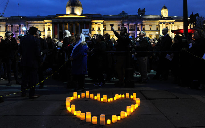 Members of the London New Zealand community and well-wishers attend a vigil at Trafalgar Square in central London on March 21, 2019 in honour of the victims of the Christchurch mosque attacks.