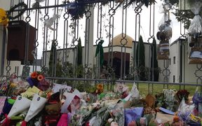 Al Noor Mosque is strewn with flowers and offerings honouring the victims of the terror attack there.