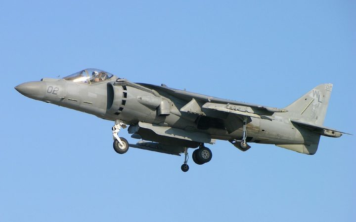 An AV-8B Harrier II jump jet