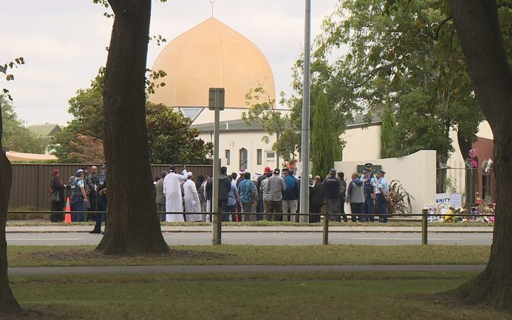 People gathered outside Al Noor Mosque in Christchurch