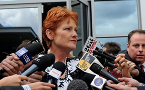Controversial former Australian politician Pauline Hanson speaks to the media in Sydney after narrowly failing in her bid to win a seat in the New South Wales parliament on April 12, 2011 in Sydney. Despite leading voters' first preferences, the outspoken 56-year-old