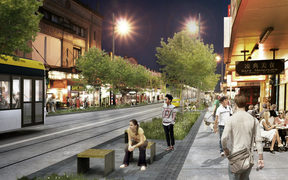 An artist's visualisation for Auckland Transport of light rail in Balmoral.