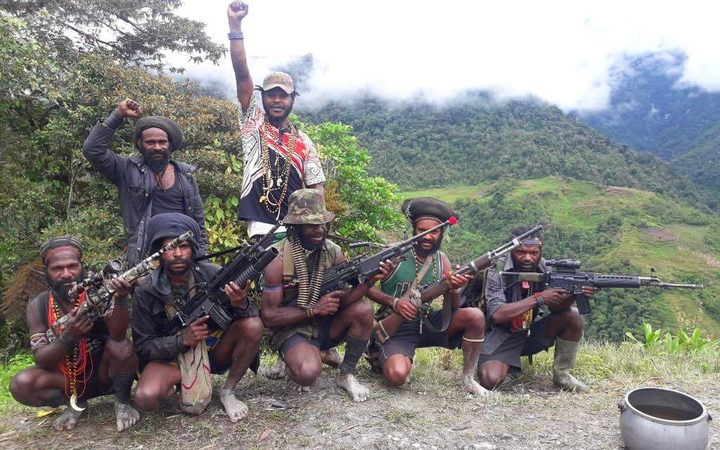 West Papua Liberation Army unit, led by Egianus Kogoya. Derakma, Nduga regency, Papua. March 2019