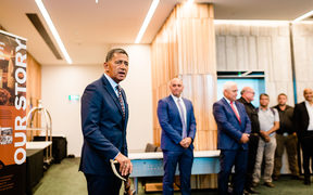 Whaimutu Dewes, chairman of Sealord, addresses Iwi gathered for the commemorative signing of Nga Tapuwae o Maui in Auckland.