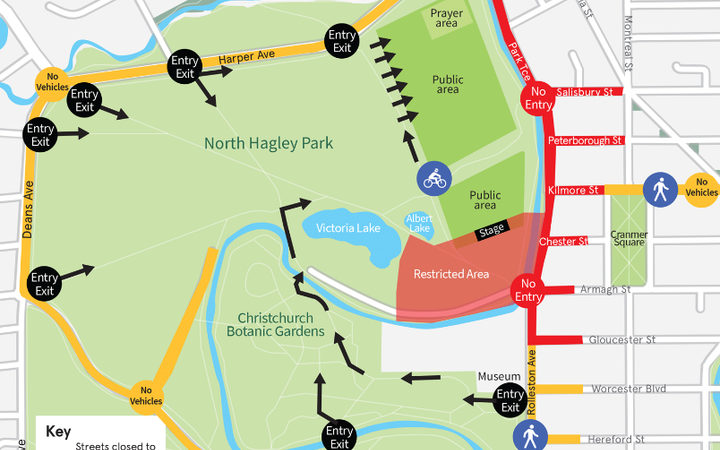 Map of road closures and public access points to North Hagley Park