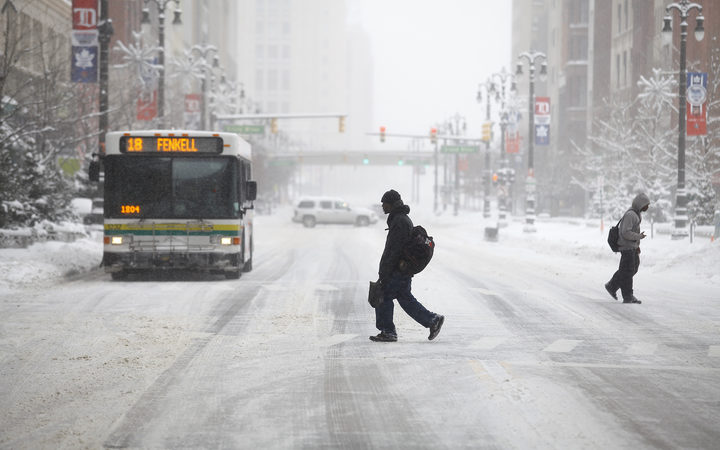 Detroit, in Michigan, was already dealing with a winter snowstorm.