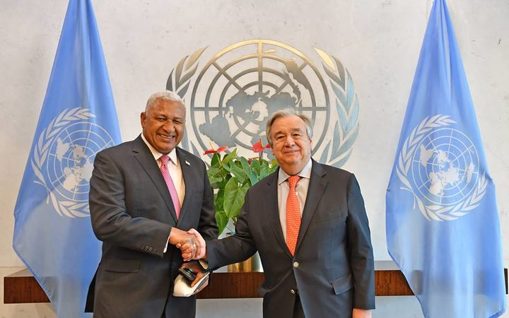 Fiji prime minister Frank Bainimarama meets with United Nations Mr.António Guterres during a meeting at the United Nations head quarters in New York.