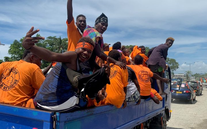 A campaign float in Solomon Islands