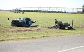 The remains of a vehicle involved in the fatal crash near Ashburton that claimed three lives.
