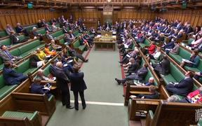 A video grab from footage broadcast by the UK Parliament's Parliamentary Recording Unit (PRU) shows MPs listening to speakers during a business motion for a second round of indicative votes in the House of Commons in London on April 1, 2019.