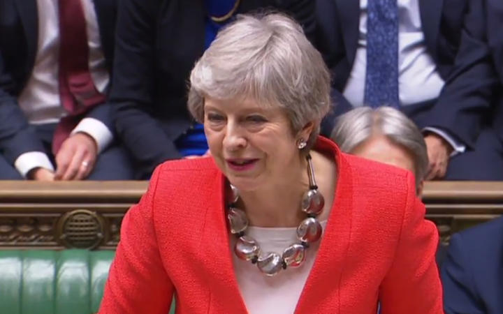 A video grab from footage broadcast by the UK Parliament's Parliamentary Recording Unit shows Britain's Prime Minister Theresa May speaking to the house after losing the second meaningful vote on the government's Brexit deal, in the House of Commons in London on March 12, 2019.