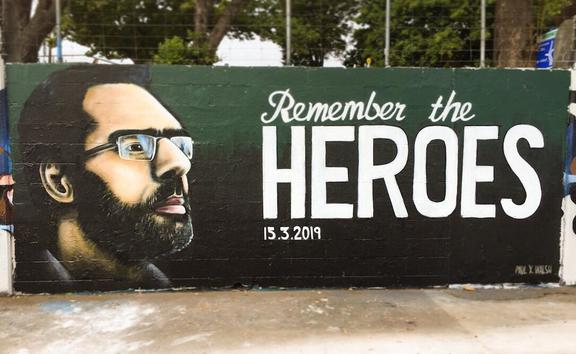 Auckland graffiti artist Paul X Walsh's Remember The Heroes mural in Avondale.