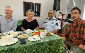 Newsroom co-editor Mark Jennings, investigations editor Melanie Reid and cameraman Hayden Aull at morning tea  with Police Commissioner Sitiveni Qiliho.