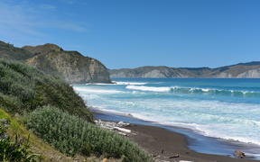 Hill and beach landscape at Mahia Peninsula