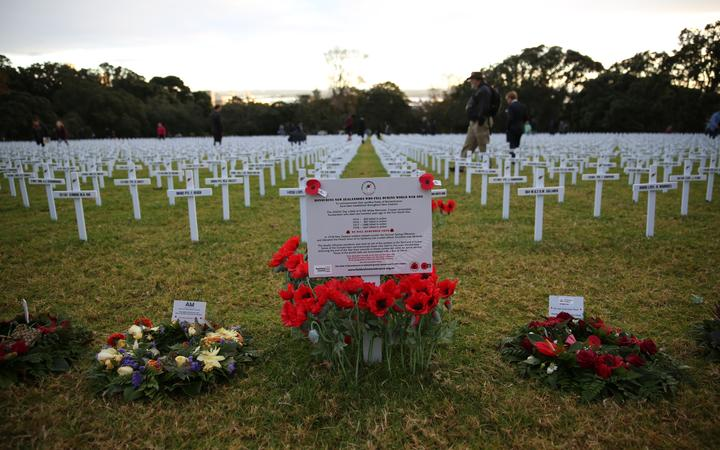 Crosses laid out in memorial at Auckland War Memorial Museum