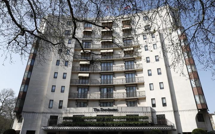 A general view shows the facade of The Dorchester hotel, part of The Dorchester Collection of hotels owned by the Brunei government, in London on April 1, 2019. -
