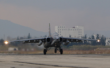 A Russian Sukhoi SU-34 bomber lands at a Russian military base in the northwest of Syria in December 2015.
