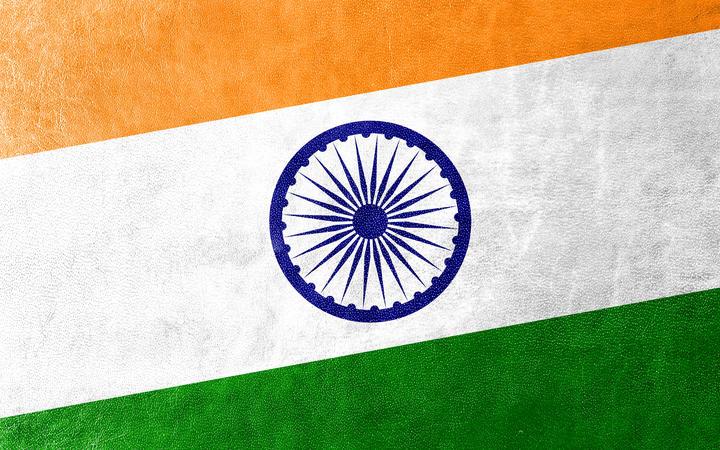 在皮革纹理绘的印度旗子