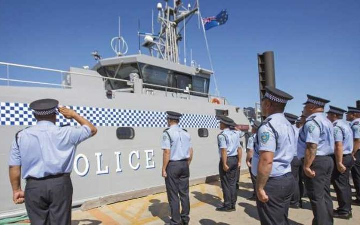 Members of the Tuvalu Police Force at the handover ceremony of Te Mataili II (a patrol boat gifted by Australia).