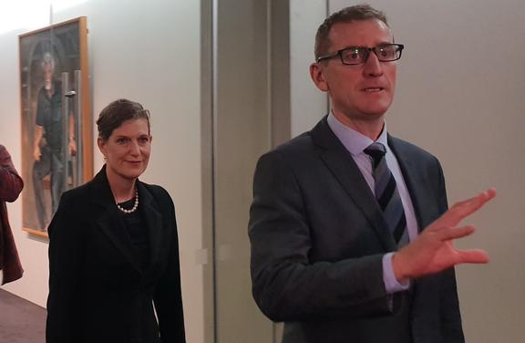 The head of the SIS Rebecca Kitteridge and the head of the GCSB, Andrew Hampton arrive at Parliament.