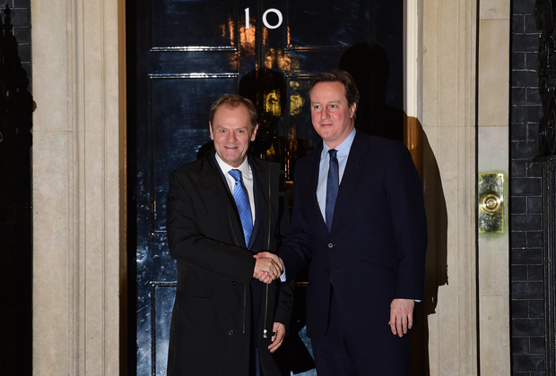 British Prime Minister David Cameron, right, with European Council president Donald Tusk outside 10 Downing Street in central London on 31 January 2016.