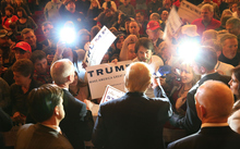 Republican presidential candidate Donald Trump greets people at a campaign rally at the Sioux City Orpheum Theatre in Sioux City, Iowa on 31 January 2016.